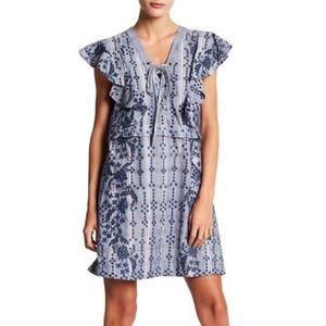 BCBGMAXAZRIA L  Caralyne Embroidered Plaid Dress